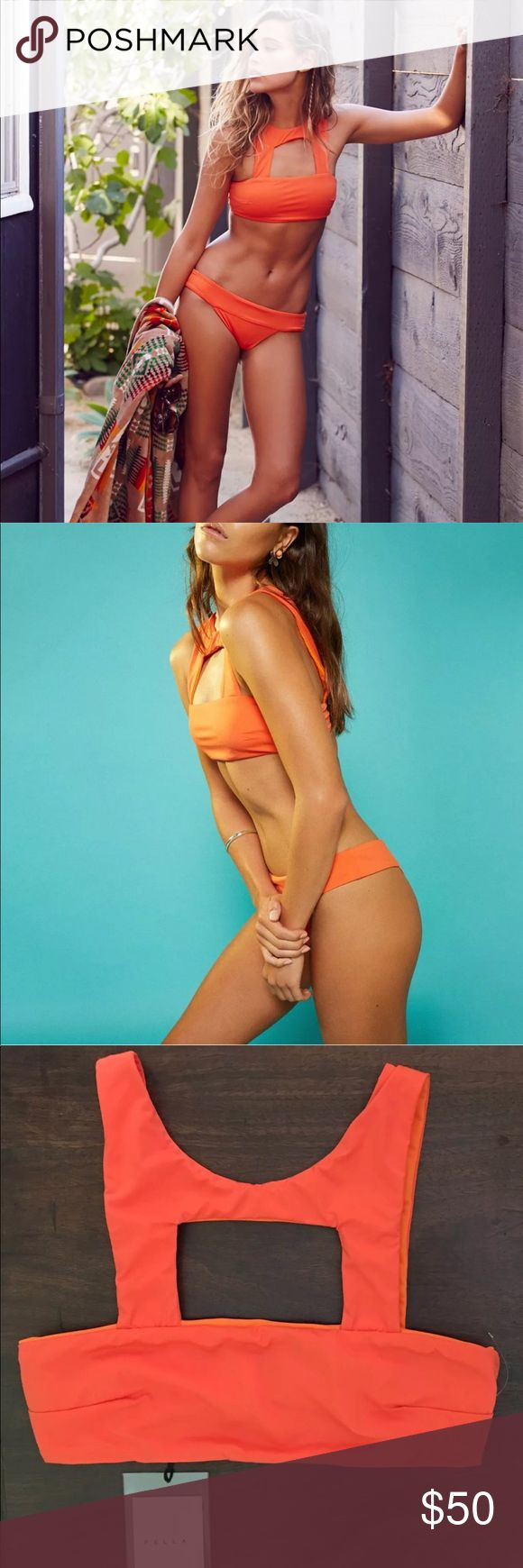 Fella Orange High Neck Bandeau Cutout Bikini Top Free People by Fella Oliver Top  Color: Orange MSRP: $135.00 Lycra 80% PA 20% EA | Italian Fabric. High neck, cut out bandeau top for the girl who wants to stand out at the beach Perfect for girls of all bust sizes Pictured with the Oliver bottom   * Please Note: Mark through inside label to prevent return to Free People.  I also have this top in black and white. Fella Swim Bikinis