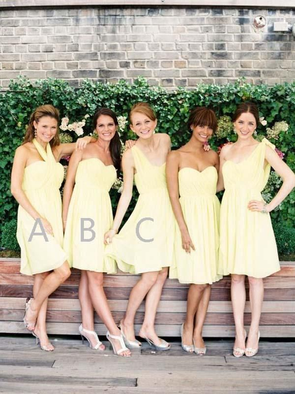 73331f73971 Pretty Light Yellow Halter   Sweet Heart   One Shoulder Short Bridesmaid  Dresses