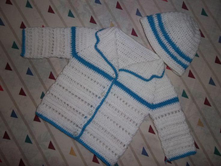 Conjunto en crochet, saquito bebe, recien nacido.   Tejido bebe ...