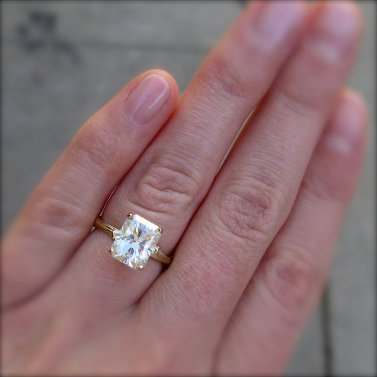 Emerald Cut Moissanite Branch Engagement Ring - 2.43ct - White or ...