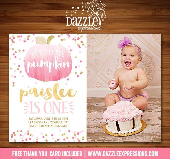 Printable Watercolor Pumpkin Birthday Invitation | Pink and Gold Glitter | Gold Foil | Confetti | Girl 1st Birthday | October and Fall Birthday Party Ideas | FREE thank you card included | Hay Ride | DIY | Digital File | Matching Printable Party Package Decorations Available!  Banner | Cupcake Toppers | Favor Tag | Food and Drink Labels | Signs |  Candy Bar Wrapper | www.dazzleexpressions.com