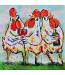 Handgeschilderde vrolijke schilderijen van kunstenaar Liz, workshops vrolijk schilderen, posters, placemats, tuinposters, ansichtkaarten en nog veel meer...