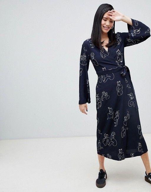 e5090d7c7bb7 Monki face print midi wrap dress in blue | Wanted | Dresses, Wrap Dress,  Monki