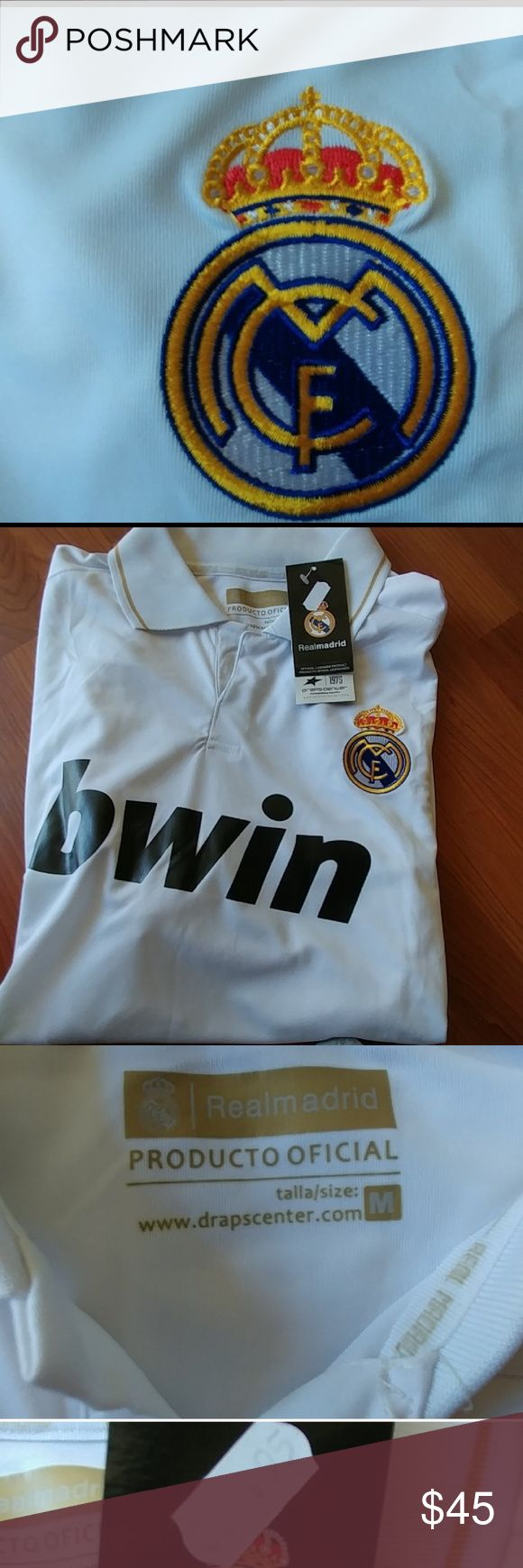 Real Madrid jersey Men I bought this at the official store for Real Madrid out side the stadium, turned out that even when my kids looked happy during the game, any of them are RM fans, their hearts are with el Barca. So it has been sitting in the closet. I paid 85,99 euros for it. Shirts Tees - Short Sleeve