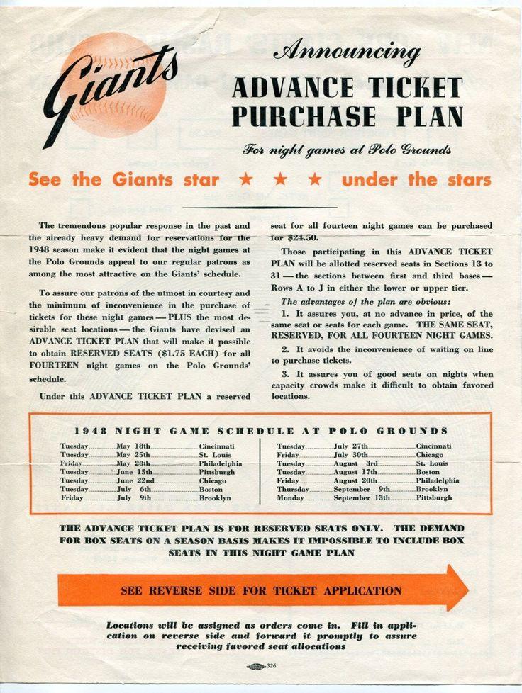 "1948 NY Giants ""Night Game Ticket Plan Application"" w Original Mailer | eBay"
