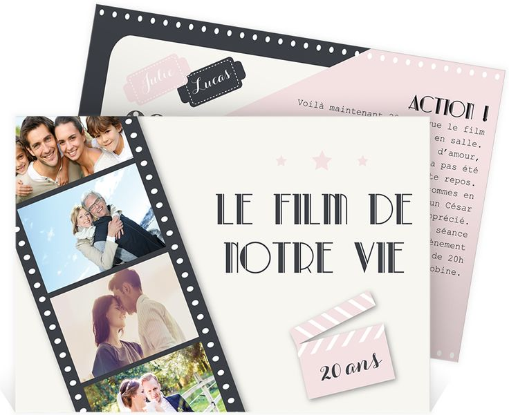 invitation anniversaire de mariage pour f ter vos 20 ans d 39 amour entour de vos proches ref. Black Bedroom Furniture Sets. Home Design Ideas