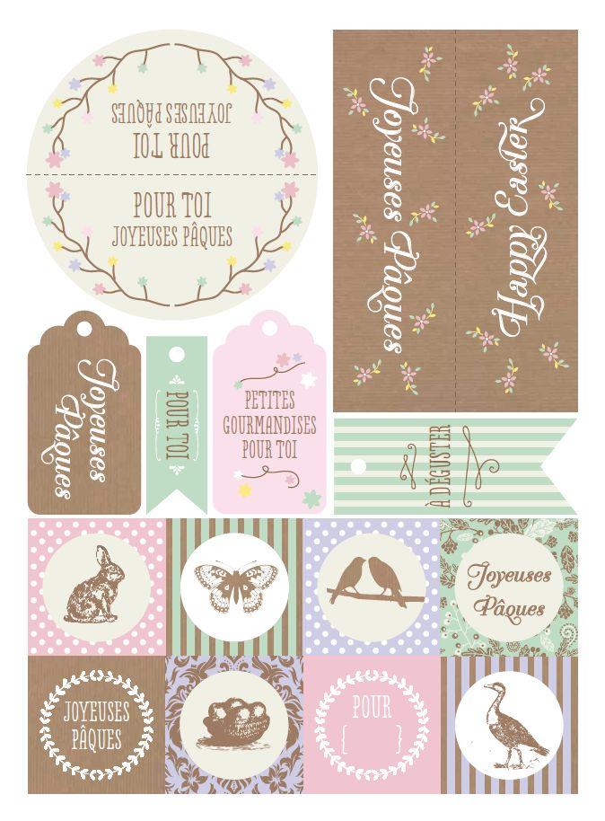 Etiquettes en français : Joyeuses Pâques