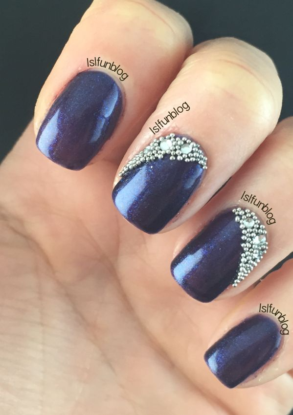 Navy Blue And Crystals Gel Nail Design With Melodysusie In 2019 Gel Nails Blue Gel Nails