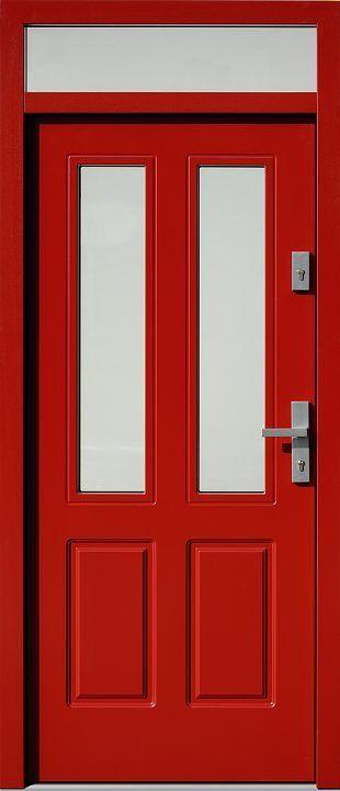 Drzwi z naświetlem górnym z szybą wzór 534,6B w kolorze czerwone.