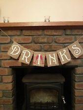DRINKS rustic vintage hessian/burlap Wedding bunting/banner