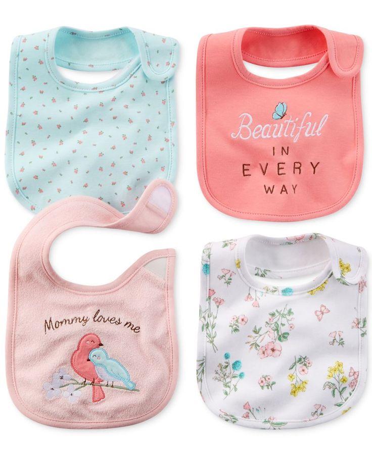 Carter's Baby Girls' 4-Pack Garden Bibs