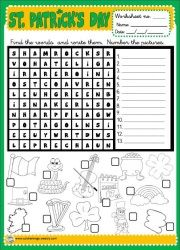 WORDSEARCH - B/W http://eslchallenge.weebly.com/st-patrick.html