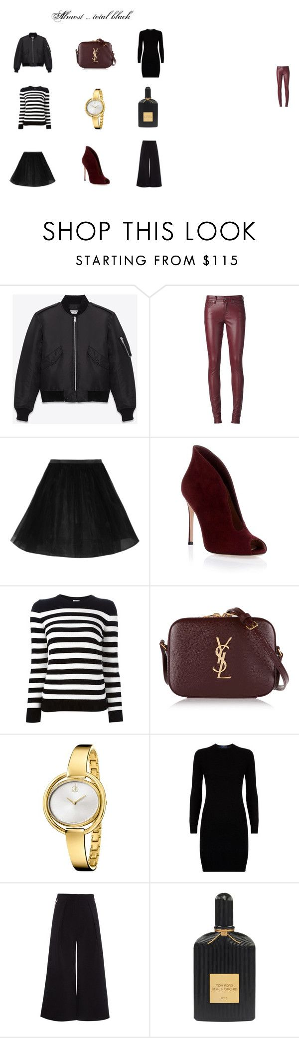"""""""Almost ... total black"""" by mousouza on Polyvore featuring Yves Saint Laurent, Gianvito Rossi, Calvin Klein, Polo Ralph Lauren, Roksanda and Tom Ford"""