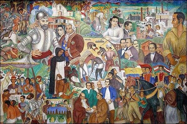 Mural painted by Hernando Tejada in the train station in Cali, Colombia.