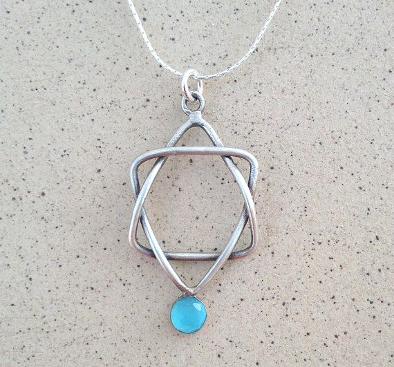 Star Of David necklace, hand made of Sterling silver wire. This beautiful Jewish Star pendant, Combined with Blue Topaz stone, and sterling silver