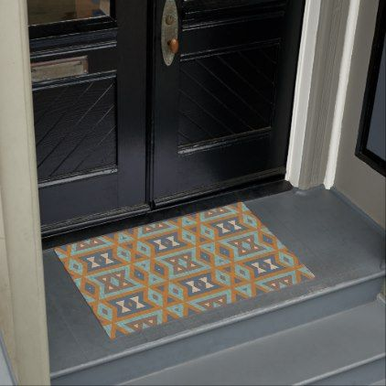 Teal Turquoise Orange Brown Eclectic Ethnic Look Doormat - rustic gifts ideas customize personalize