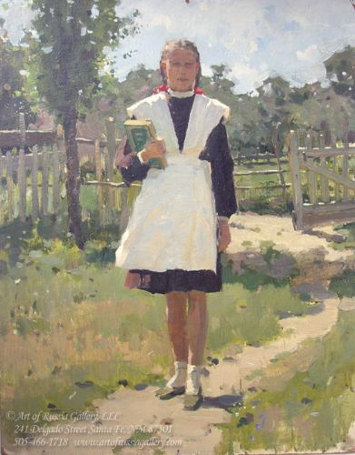 Vasilenko Girl in School Uniform (V1) 21.75 x 17 oil on board