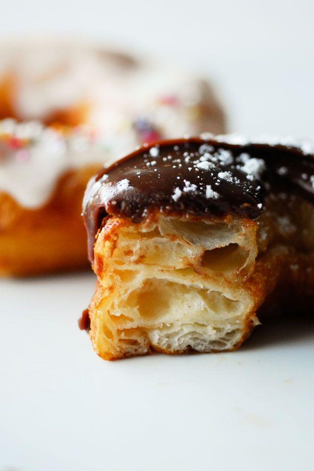 ... cronut with dark chocolate glaze ...