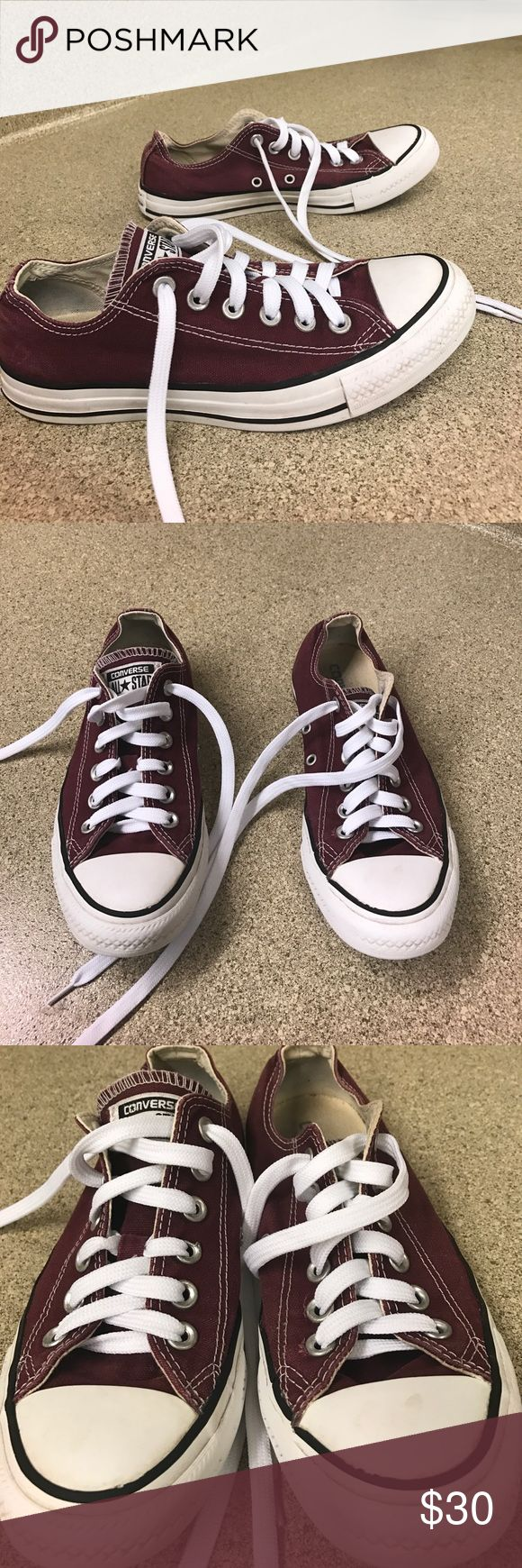 "Maroon converse Chuck Taylor's Maroon ""worn"" converse Chuck Taylor's men's size 5 women's size 7. Washed, air dried, and new shoe laces. I will ship out old laces if wanted but I didn't clean those. Clean smoke free home. Please make a reasonable offer. Some signs of wear but very unnoticeable I couldn't get a good picture of on the shoes. Rippling rubber and signs on back of shoes shown in pictures above. Any questions please ask. Converse Shoes Sneakers"