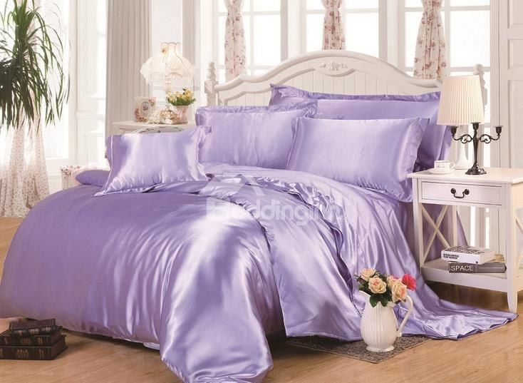 Lilac 4 Piece Silk Like Bedding Sets Duvet Cover Satin Bedding Silk Bed Sheets Duvet Bedding Sets