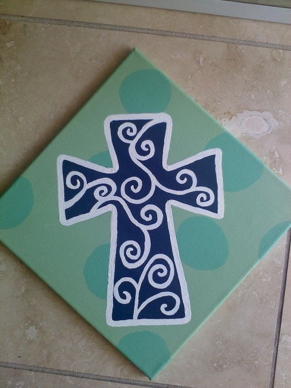 Unique handpainted CROSS in greens blue and white by grisgrisart, $40.00