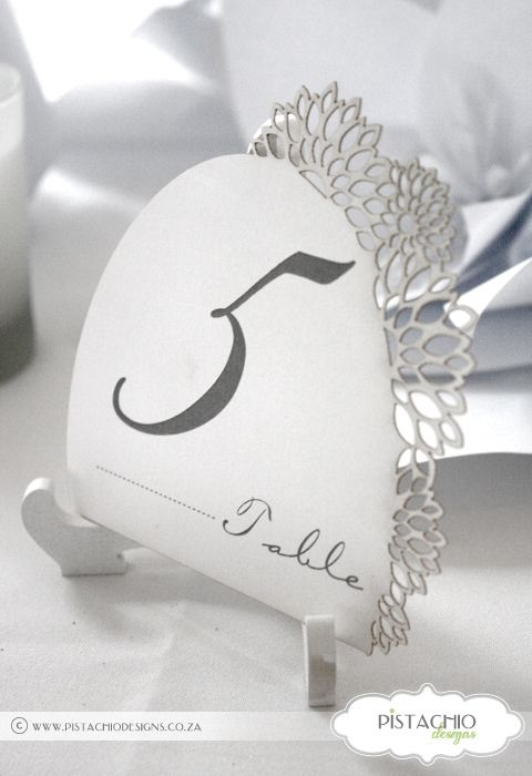 Flower laser cut table number by www.pistachiodesigns.co.za