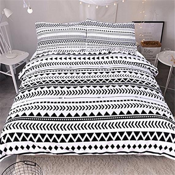 3d Black Triangle Stripe D113 Duvet Cover Bedding Set Quilt Etsy Tribal Bedding Duvet Covers Striped Bedding