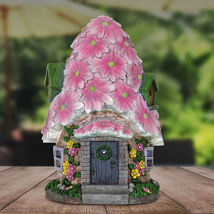 Fairy Homes and Gardens - Large Spring Petals Solar Fairy House, $59.99 (https://www.fairyhomesandgardens.com/large-spring-petals-solar-fairy-house/)