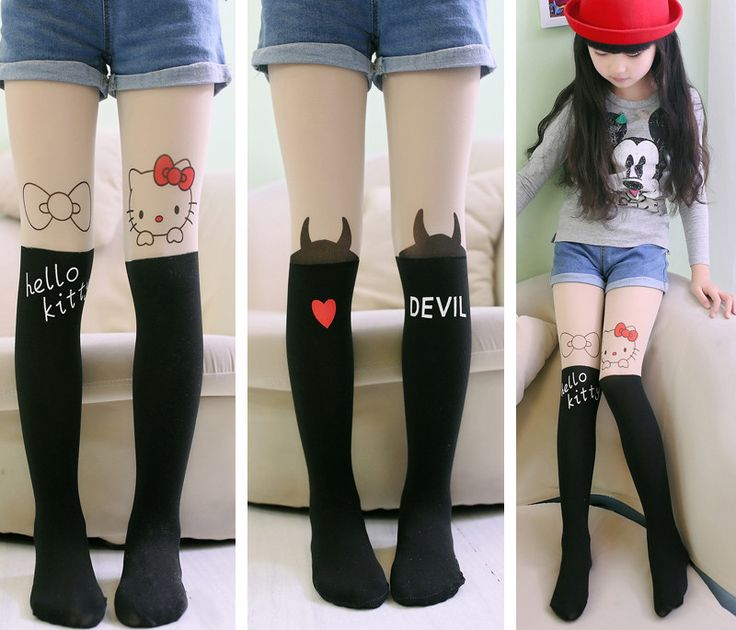 Fashion Children tights girls tights Cute cat false tube splicing silk stocking tights for girls one size for 4-10years girl