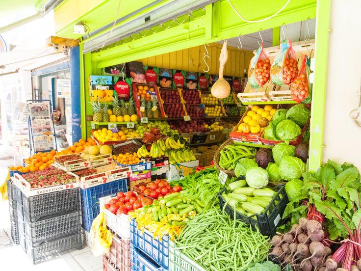 Doorsnee groente -en fruitkraampje in Pilion