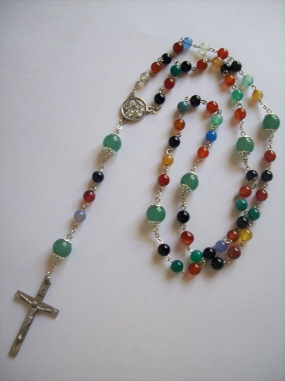 Handmade+MultiColor+Agate+Linked+Rosary+by+gentlewomanrosary,+$42.00