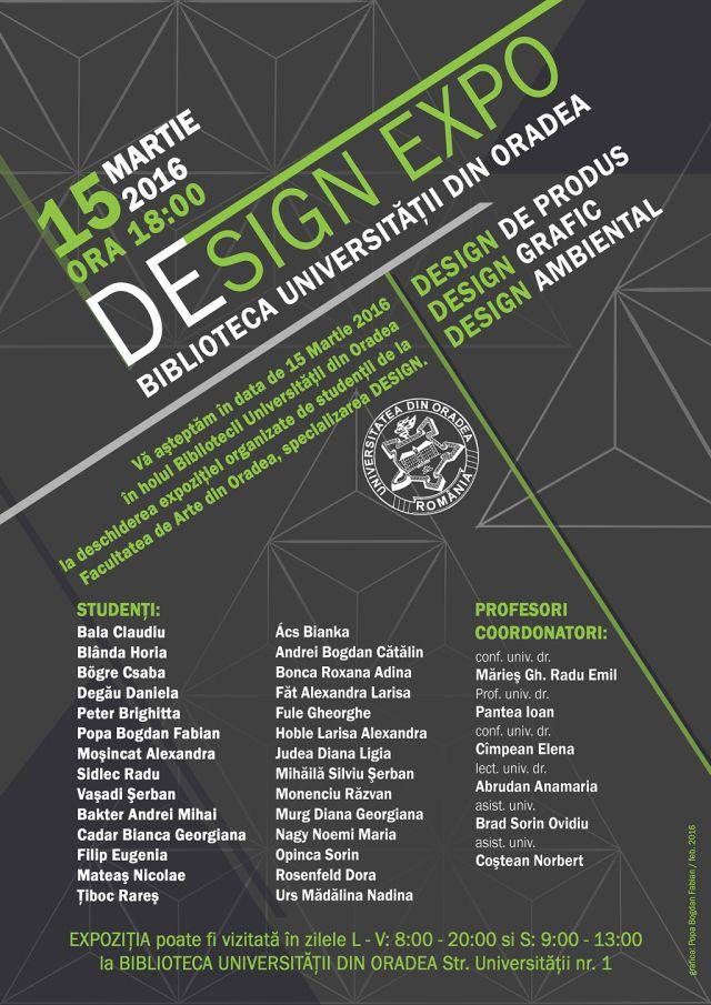 Studenții din anul III ai Facultății de Arte, specializarea Design, vă așteaptă la Design Expo, un eveniment devenit tradiție în cadrul Universității din Oradea