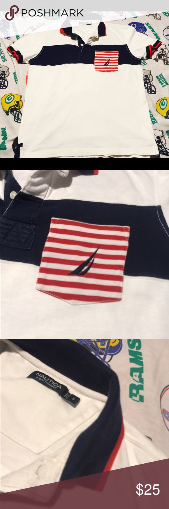 """Vintage Nautica Rugby Polo Vintage Fresh Nautica men's Rugby Polo!  Blue Red & White Americana Color Way . Nautica all Embroidered flag on Chest Side Pocket . Very clean Sail boat Nautica patch Rocking on the back Side ! Very Fresh Find . Size Small  Pit2pit:23 1/2"""" Length:27"""" Collar2sleeve:14"""" Nautica Shirts Polos"""