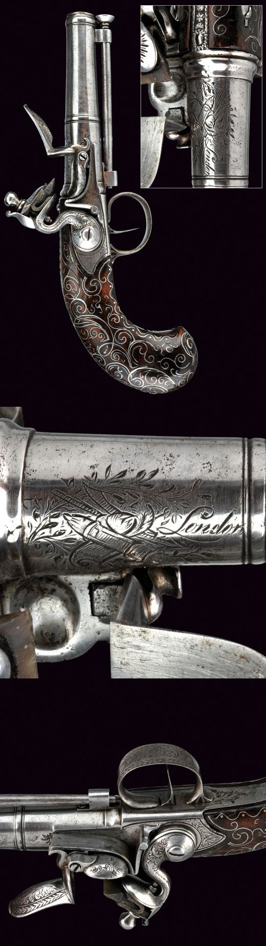 A beautiful Queen Anne flintlock pistol.    provenance:	 	London dating:	 	late 18th Century.