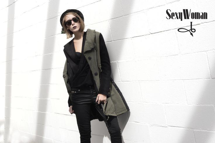 Hunter green parka -black tshirt and basic denim coated in black (leather effect)