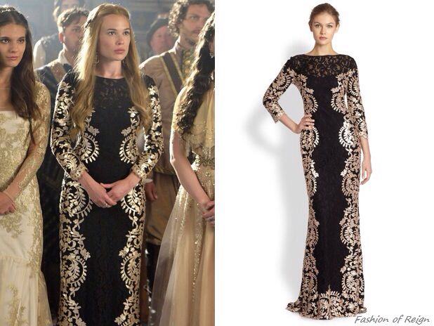 """Episode 2x03 """"Coronation"""" Greer wears this sold out Tadashi Shoji Three Quarter Sleeved Contrast Lace Gown"""