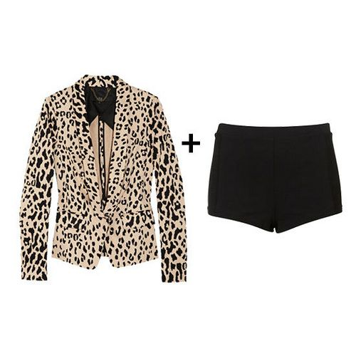 oh la la... leopard blazer + dress shorts... all you need is a red lip and you're set!
