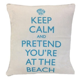 Keep Calm Pillow in Clear Blue