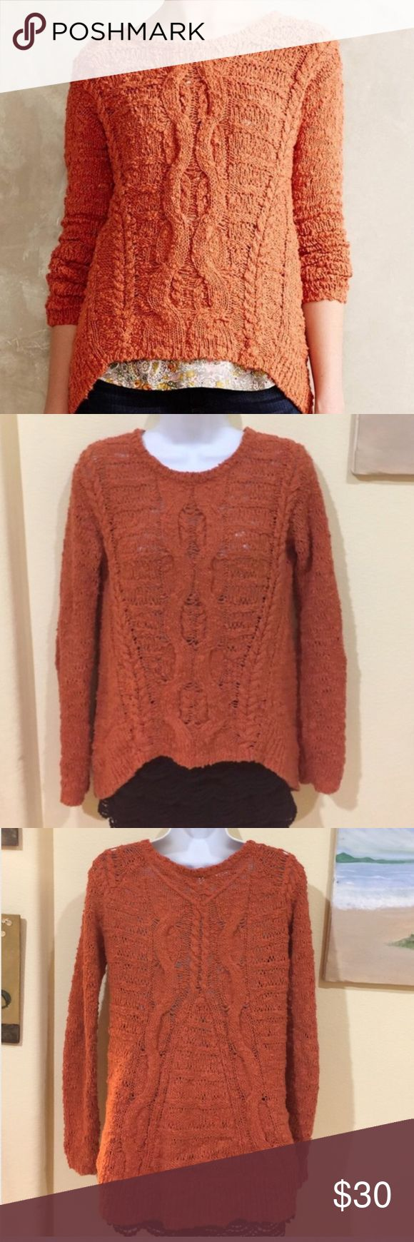 MOTH ANTHROPOLOGIE orange cream high & low sweater Gently worn , shorter in the front ,  tag says XS but fits like a size S , this is an Anthropologie brand, price NEGOTIABLE Anthropologie Sweaters
