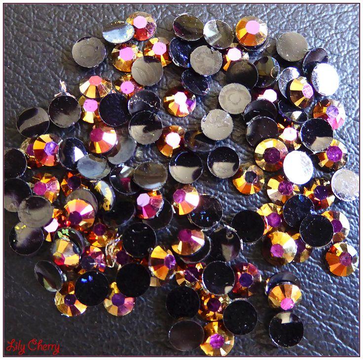 Strass orangé bronze doré irisé reflet multicolore bulle effet x10 : Cabochons, demi-perles par lilycherry