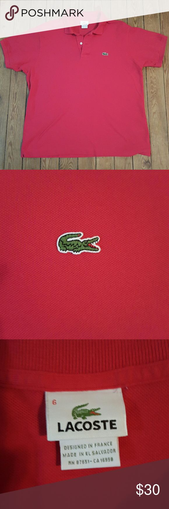 Like New! Lacoste Classic Polo Men's Lacoste Polo.   Like new!  Only worn a couple of times.   Vibrant red color.   100% authentic.  I bought this online from Lacoste.   Size 6 on tag.  Fits like a men's large or women's XL.  I wear it with leggings.  Great shirt! Lacoste Shirts Polos