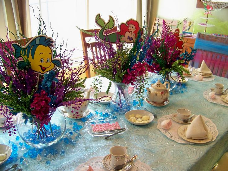Little mermaid centerpieces ideas plumeria cake studio for Ariel party decoration ideas