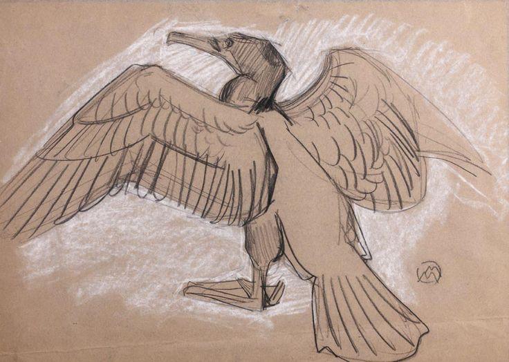 Mathurin MEHEUT (1882-1958) Cormoran Pierre noire et rehauts de craie blanche Monogrammée en bas à droite 31.5 x 45 cm