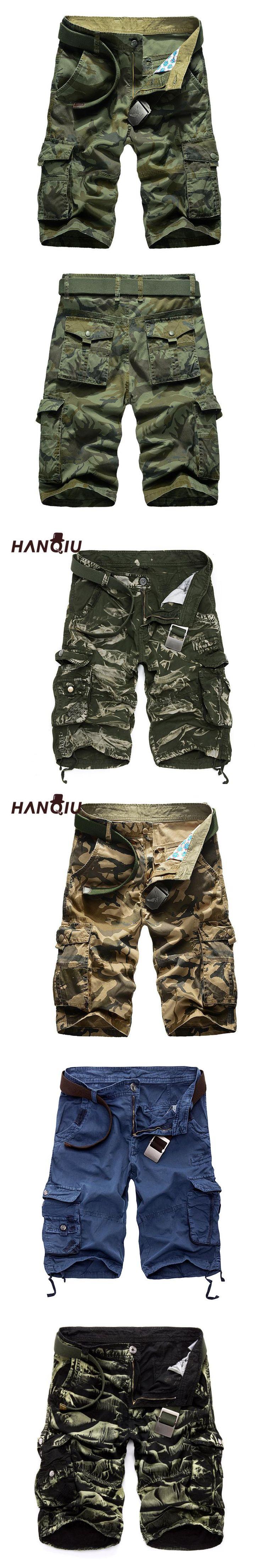 HANQIU Cargo Shorts Men 2017 Summer Casual Loose Camouflage Male Fashion Army Camo Work Shorts Plus Size 29-44