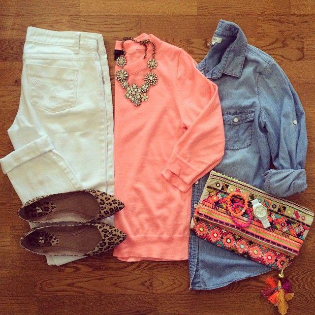 Neon Sweater, Chambray Shirt, White Jeans, Leopard Flats, Star Mela Clutch | #weekendwear #casualstyle #liketkit | www.liketk.it/1kayv | IG: @whitecoatwardrobe