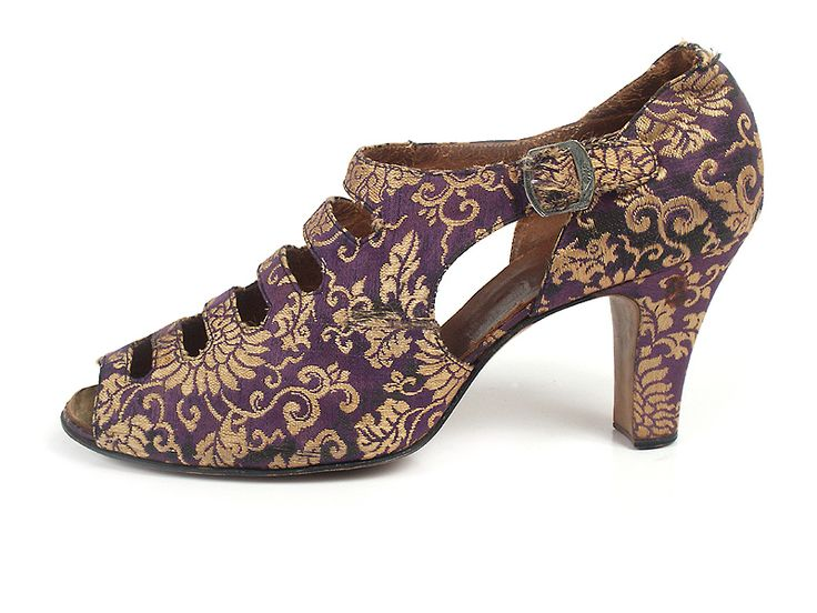 Violet and gold brocade shoes with cut-outs on vamp, 1930's