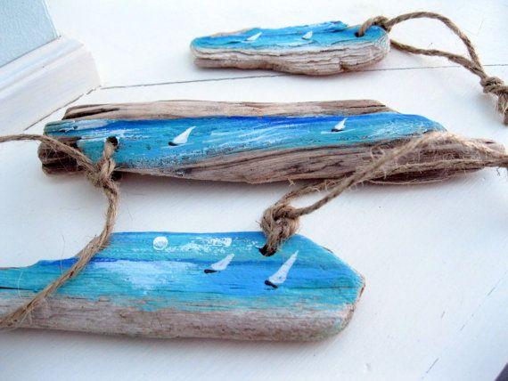 Painted Driftwood Driftwood Gift Tags Sailboats by gardenstones