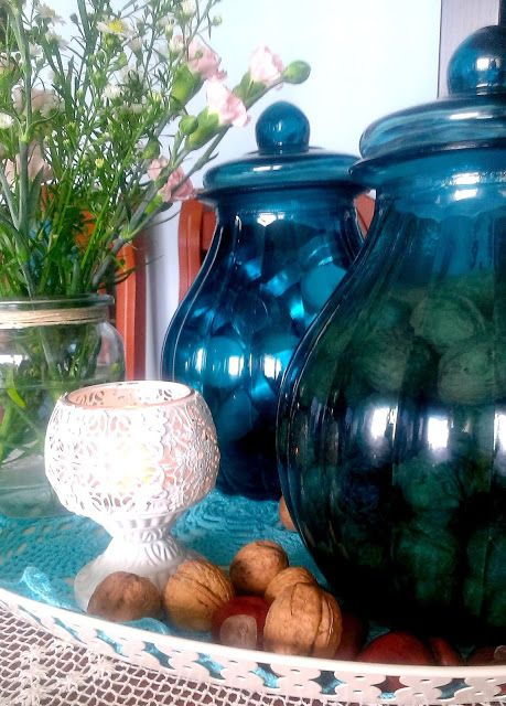 blue glass, glass jars,