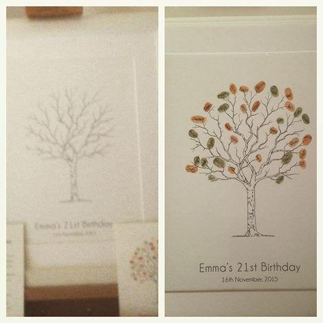21st Birthday, Fingerprint guest book tree
