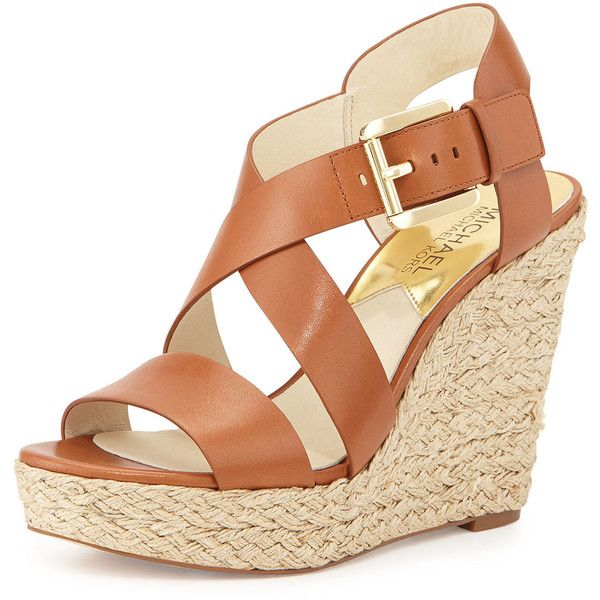 MICHAEL Michael Kors Giovanna Leather Espadrille Wedge Sandal (625 RON) ❤ liked on Polyvore featuring shoes, sandals, wedges, heels, luggage, platform wedge sandals, wedge heel sandals, wedges shoes, ankle wrap sandals and strap sandals